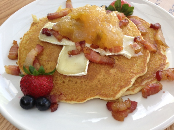 Bacon n' Brie pancakes at The Drawbridge Bistro