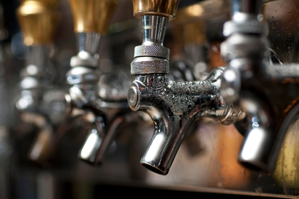 Selective-focus image of beer taps