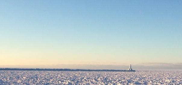 ice on lake lighthouse